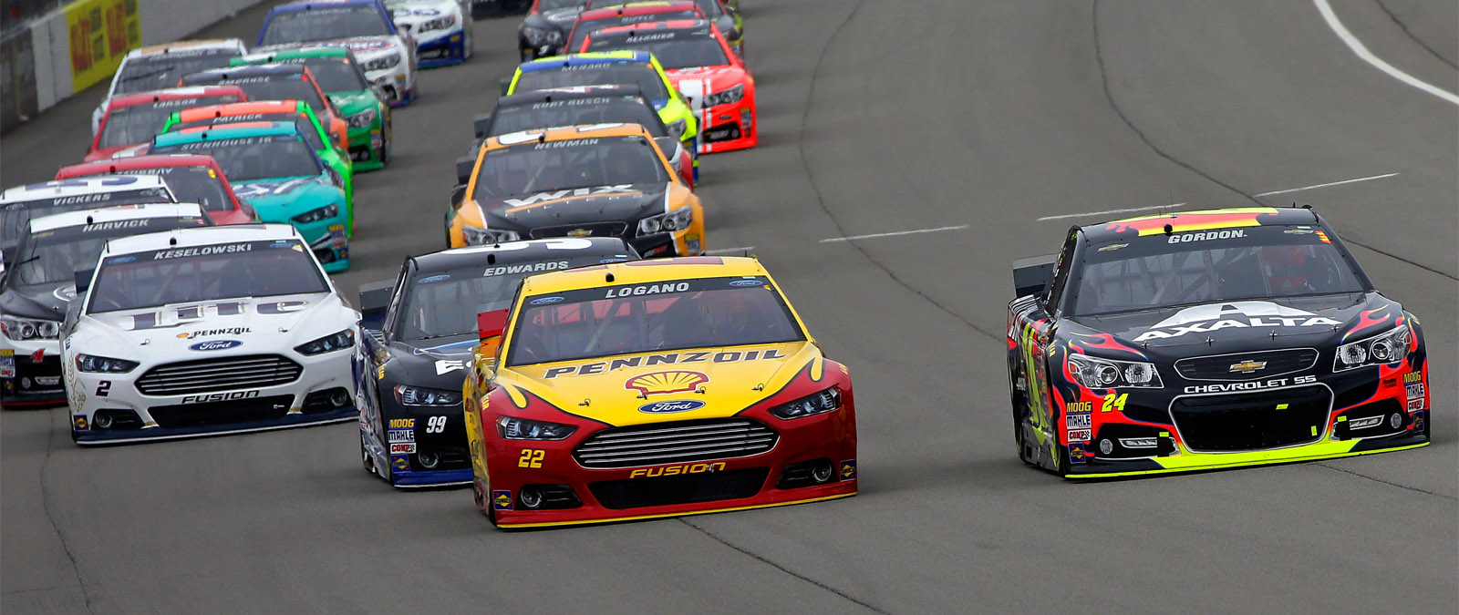 Logano Racing For the Lead at Michigan